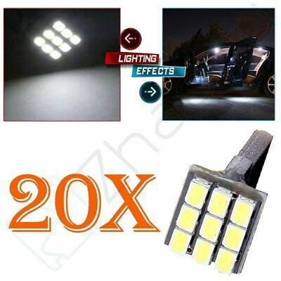 20x Xenon White 9SMD 1206 Wedge LED Bulbs Parking Lights Lamp W5W 194 168 2825