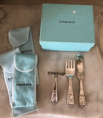 Vintage Tiffany & Co Sterling Silver Baby Food Pusher Fork & Knife Set Gift Box
