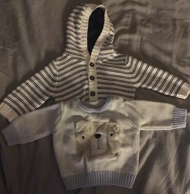 x2 Baby Boy Jumpers 0-3 Months