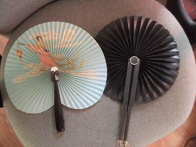 Civil War Era Black Mourning Cockade Folding Hand Fan & fan w/ girl in the sky