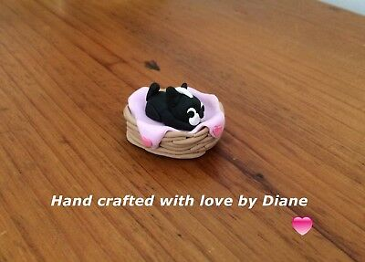 Miniature Hand Crafted Polymer Clay Boston Terrier Baby in Basket