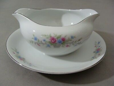 Florenteen Fine China Gravy Dish W/Attached Underplate In The Fantasia Pattern