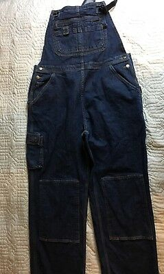 Duluth Trading Co. Dark Blue Jean Overalls Farmer Men Size Large 31 Inseam