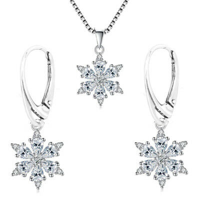 925 Sterling Silver Snowflake Set (Pendant, Necklace Choice, Leverback Earrings)