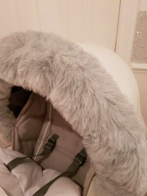 GREY luxury fur hood trim for pram/ buggy universal fit