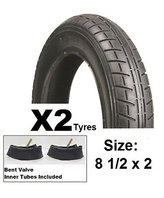 2x HOTA Pram / Stroller / Bike Tyre - 8 1/2 x 2 inch *Inner Tubes included*