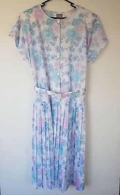 JONATHAN SUMMERS- Vintage 1980's Pastel Floral Dress NWT!- Size 16