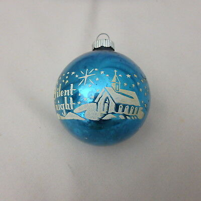 Vtg Shiny Brite Blue Stenciled Silent Night Mercury Glass Christmas Ornament 2.5