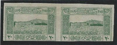 Turkey. 1922. National Pact (Izmir Harbour). IMPERF PAIR. Signed.