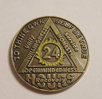 aa bronze alcoholics anonymous 24 hour 2 tone sobriety  coin token medallion NEW