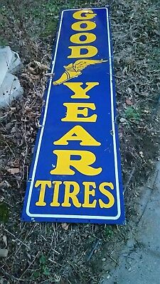 Vintage Large Tall GoodYear Good Year Tires Porcelain Sign 8 feet long.