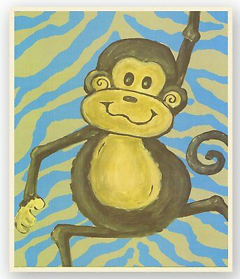 The Kids Room by Stupell Lil Buddy Monkey with Blue Zebra Stripes Rectangle Wall