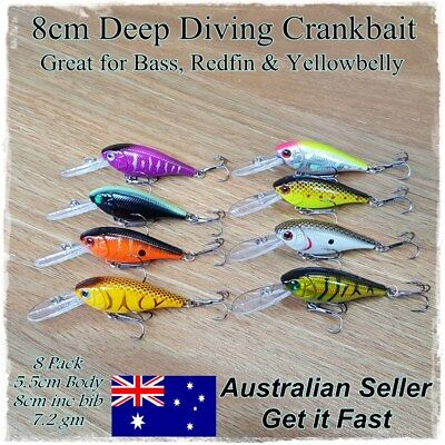 8 x Redfin & Bass Fishing Lures, Bream, Yellowbelly, Flathead, Perch, Trout, 8cm