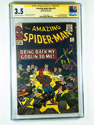 Amazing Spider-Man 27 CGC 3.5 Death of Crimemaster signed by Stan Lee