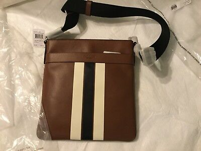 fe87311402e2 Coach F54193 Mens Charles Crossbody In Signature Varsity Leather Dark  Saddle NWT
