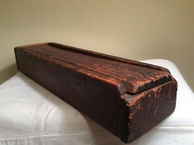 Antique Primitive Hand Crafted Folk Art Wooden Sliding Lid Candle Box Pencil Box