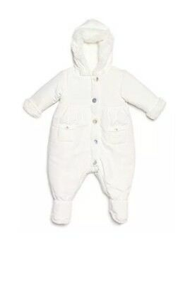 BABY INFANT SNOWSUIT BUNTING Size 6 Months Off White LEVERET NWT