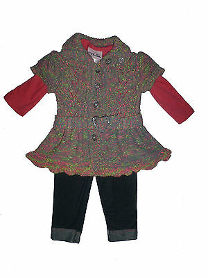 Little Lass Baby Girl Gray Cardigan Vest Pink Shirt & Leggings Outfit 12 Months
