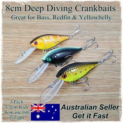 Redfin & Bass Fishing Lures, Yellowbelly Trout Flathead Cod Bream Deep Diving 3x