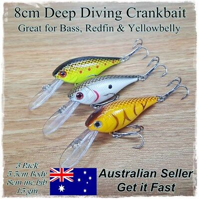 3 Redfin & Bass Fishing Lures, Yellowbelly Trout Flathead Cod Bream Deep Diving