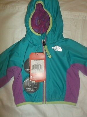 Nwt $65. The North Face 3 Months Infant Girls Reversible Wind Jacket, Bluebird