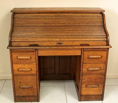 Antique English Oak Roll Top Desk Circa 1900 Angus London Cutler S Type Roll Top