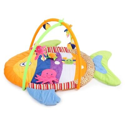 Soft Cotton Play Mat Colorful Fish Gym Blanket with Frame Rattle Crawling Toy
