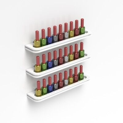 Wall Mounted White Acrylic Nail Polish Display Shelf Nail Varnish Bottle Holder