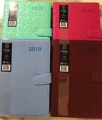 2018 Diary A4 Day to a Page PU Leather Embossed Cover w Magnetic Clasp