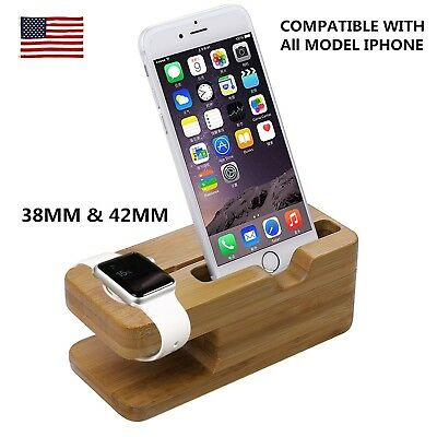 US Protective Bamboo Wood Charging Dock Stand for Apple iwatch Watch Iphone