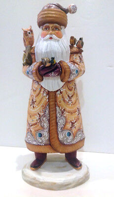 """14.5"""" Vintage Unique RUSSIAN SANTA Wooden Hand Carved and Painted Signed 90-s"""