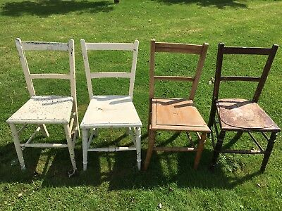 Four Antique Edwardian Bedroom / Occasional Chairs For Restoration