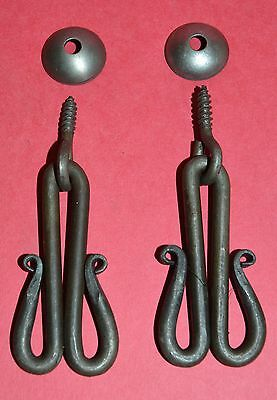 Pair O' Wrought Iron, Scrolled,Cabinet Door, Drawer Pulls with Domed Escutcheons