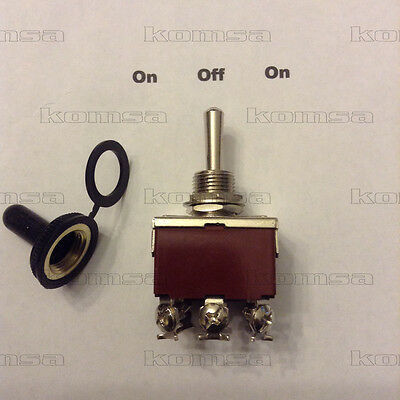 30 Amp DPDT 3 Position / On - Off - On  Toggle w/ Cover 7075-TSO Switch 12 Volt