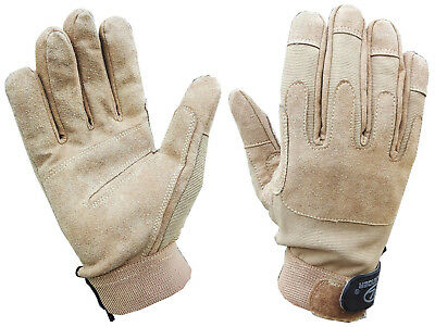 MENS MILITARY MISSION GLOVES gents sand suede S-XL tactical ops army driving kit