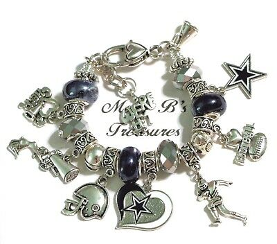 "DALLAS COWBOYS NFL HANDMADE FOOTBALL CHARM BRACELET 6 3/4""  + 1 1/2"" Extender**"