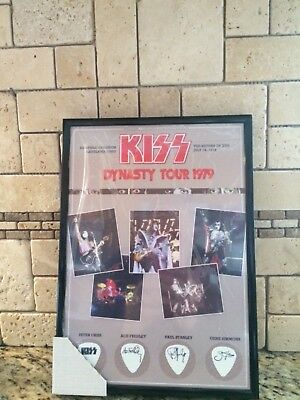 KISS DYNASTY Tour 1979 framed poster &wine bottle with wooden case and box of ca