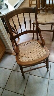 Five cane chairs,  spindle back, Pressed cane,