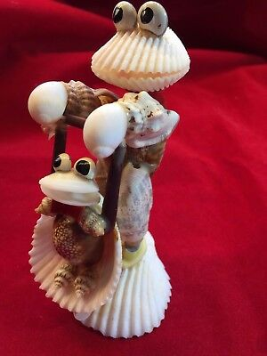 Antique Vintage  Frog Dad/baby Handmade Seashell Art Estate Item Ohso Unusual