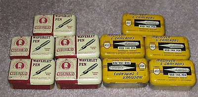 Lot of 10 Vintage WAVERLY PEN Nib or Point Lithographed Tin Boxes c.1925