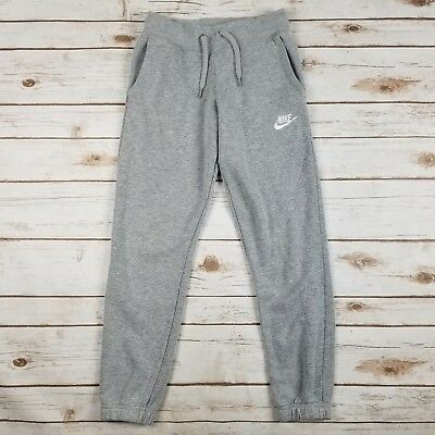Nike Gray White Athletic Drawstring Sweatpants Joggers Youth Boys Size M