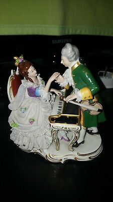 Great Porcelain Dresden Lace Volkstedt Figure Figural Music Group