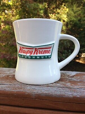 Krispy Kreme Doughnuts Raised 3D Logo White Heavy Coffee Cup Mug