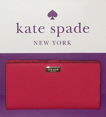 NWT Kate Spade Stacy Laurel Way Leather Wallet/Clutch CRAB RED $119