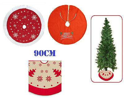 """Large Christmas Xmas Tree Skirt Base Cover Decoration Red Snowflakes 90cm 35"""""""