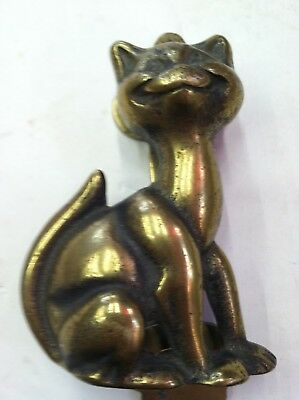 "Antique Vintage Cast Brass Cat / Kitten 5"" Door Knocker clock germany japan gold"