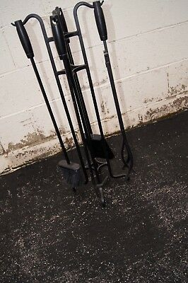 METAL FIREPLACE FIRE TOOLS  4 pc set & Stand MODERN LOOK
