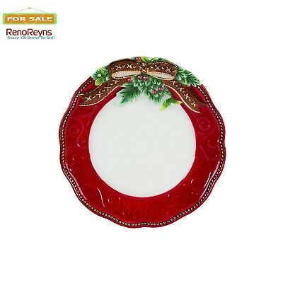 Fitz and Floyd Yuletide Holiday Collection Salad Plate, White