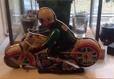 Isle of Man TT vintage Motorcycle pressed metal wind up racer toy boxed ( rare)