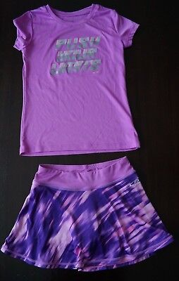 2 Pc Set Outfit CHAMPION Athletic Girls Sz 7/8 Skorts Shirt Duo Dry Purple